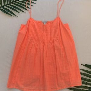 J. Crew Garment Dyed Pintucked Cami in Orange